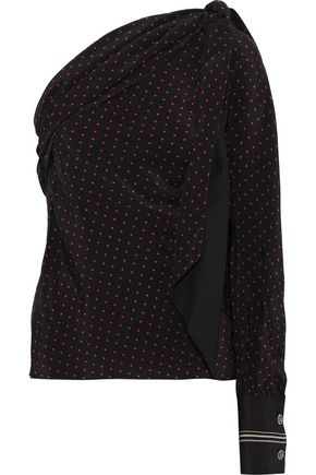 371782922d1354 PHILOSOPHY di LORENZO SERAFINI One-shoulder draped polka-dot silk top
