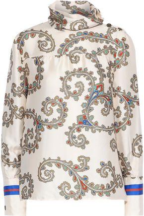 PHILOSOPHY di LORENZO SERAFINI Printed satin-twill turtleneck blouse