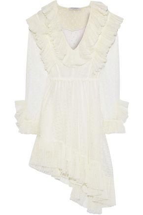 PHILOSOPHY di LORENZO SERAFINI Asymmetric ruffled Swiss-dot tulle mini dress