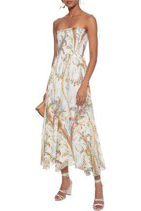 PHILOSOPHY di LORENZO SERAFINI Strapless shirred printed silk-gauze midi dress