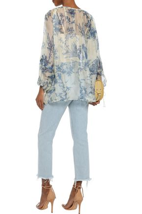 PHILOSOPHY di LORENZO SERAFINI Gathered printed silk-organza blouse