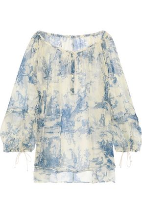 PHILOSOPHY di LORENZO SERAFINI Gathered printed silk-organza blouse