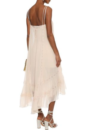 PHILOSOPHY di LORENZO SERAFINI Asymmetric lace-trimmed silk-chiffon midi slip dress