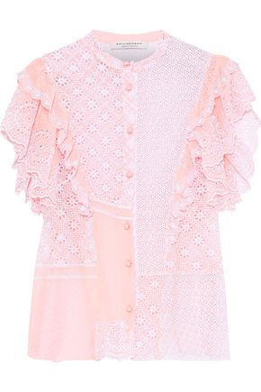 PHILOSOPHY di LORENZO SERAFINI Ruffled broderie anglaise cotton-blend georgette top