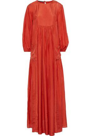 ALBERTA FERRETTI Gathered silk-satin maxi dress
