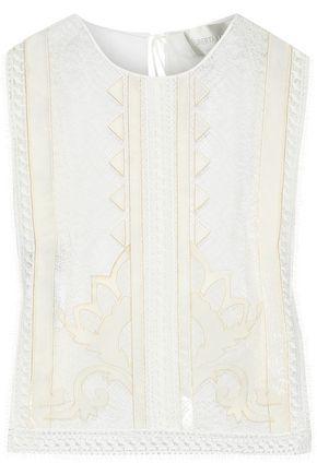 ALBERTA FERRETTI Velvet-appliquéd lace and chiffon top