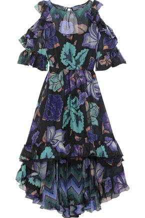 ALBERTA FERRETTI Cold-shoulder ruffle-trimmed printed silk-chiffon dress
