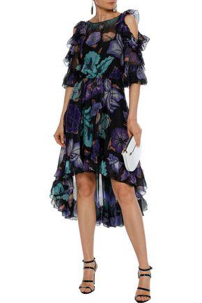 ALBERTA FERRETTI Cold-shoulder ruffle-trimmed printed silk-chiffon dress