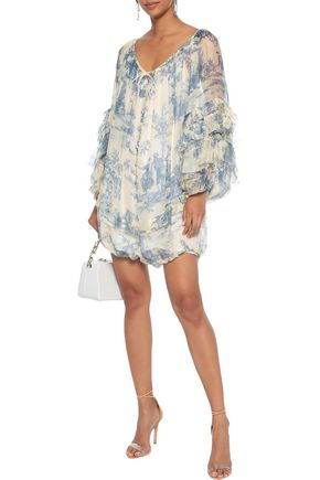 PHILOSOPHY di LORENZO SERAFINI Ruffled printed organza playsuit