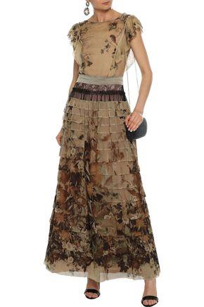 ALBERTA FERRETTI Lace-paneled tiered printed chiffon maxi dress