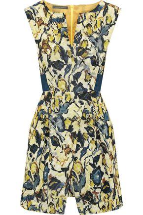 ALBERTA FERRETTI Pleated printed cotton-blend faille mini dress