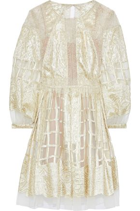 ALBERTA FERRETTI Chantilly lace-paneled metallic fil coupé silk-blend organza dress