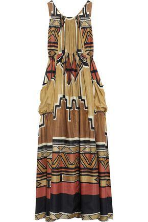 ALBERTA FERRETTI Gathered printed silk-satin maxi dress