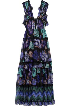 ALBERTA FERRETTI Crochet-trimmed pleated printed silk-chiffon gown