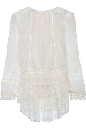 ALBERTA FERRETTI Lace-paneled pleated silk-georgette blouse