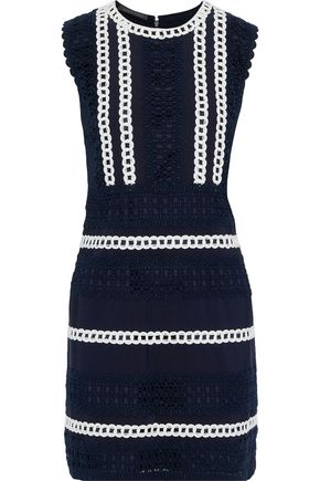 ALBERTA FERRETTI Cotton-blend grosgrain and guipure lace mini dress