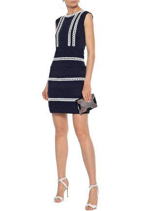 ALBERTA FERRETTI Cotton-blend grosgrain and guipure lace mini dress