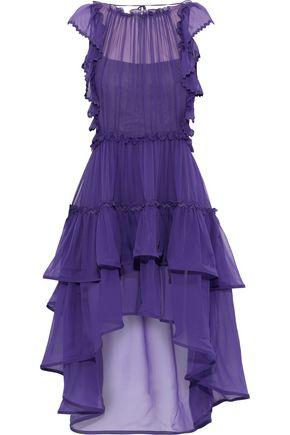 ALBERTA FERRETTI Ruffled rick rack-trimmed silk-chiffon dress