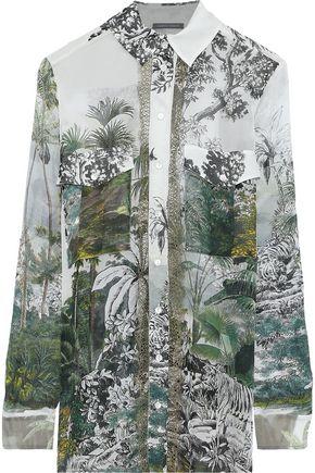 ALBERTA FERRETTI Lace-trimmed printed silk-chiffon shirt