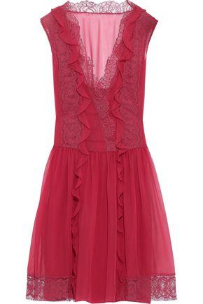 ALBERTA FERRETTI Lace-trimmed ruffled silk-chiffon mini dress