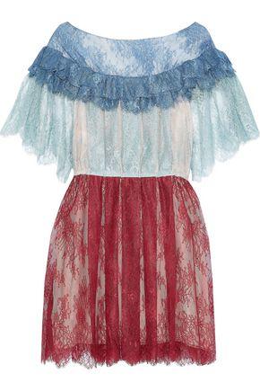 PHILOSOPHY di LORENZO SERAFINI Pleated color-block Chantilly lace mini dress