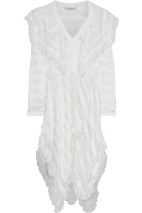 PHILOSOPHY di LORENZO SERAFINI Ruffled lace-trimmed striped crinkled-satin dress
