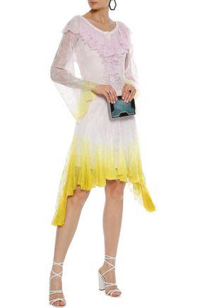 PHILOSOPHY di LORENZO SERAFINI Ruffled dégradé Chantilly lace dress