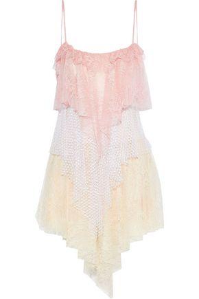 PHILOSOPHY di LORENZO SERAFINI Tiered ruffled color-block lace mini dress