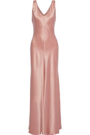 ALBERTA FERRETTI Fluted draped silk-satin gown