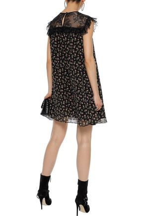 PHILOSOPHY di LORENZO SERAFINI Chantilly lace-paneled floral-print silk-chiffon mini dress