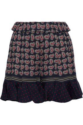 PHILOSOPHY di LORENZO SERAFINI Ruffle-trimmed printed crepe shorts