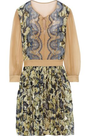 ALBERTA FERRETTI Lace and chiffon-paneled metallic printed fil coupé mini dress