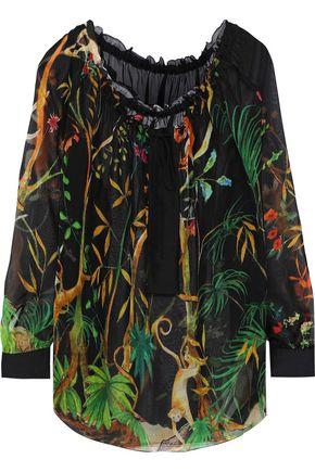ALBERTA FERRETTI Satin-trimmed printed silk-chiffon blouse