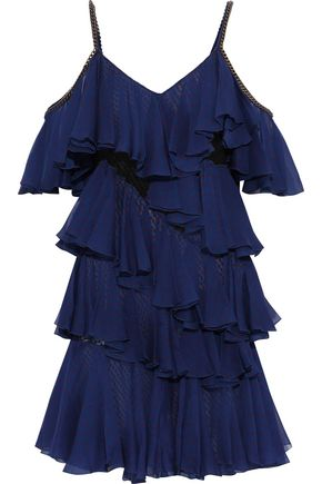 PHILOSOPHY di LORENZO SERAFINI Cold-shoulder embroidered tulle-paneled tiered polka-dot silk-chiffon mini dress