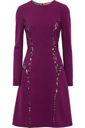 ALBERTA FERRETTI Lace-trimmed crepe dress