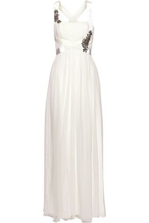ALBERTA FERRETTI Crystal-embellished velvet-trimmed silk-chiffon gown