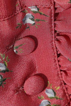 PHILOSOPHY di LORENZO SERAFINI Ruffle-trimmed floral-print washed-silk shirt