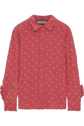 PHILOSOPHY di LORENZO SERAFINI Ruffle-trimmed floral-print washed-silk shirt