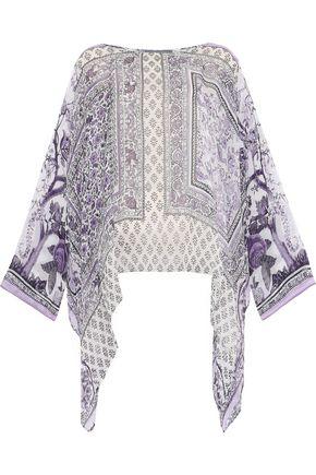 ALBERTA FERRETTI Draped printed silk-chiffon top
