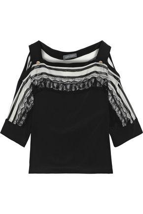ALBERTA FERRETTI Cold-shoulder lace-paneled striped silk-chiffon top