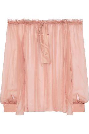 ALBERTA FERRETTI Off-the-shoulder satin-trimmed silk-chiffon blouse