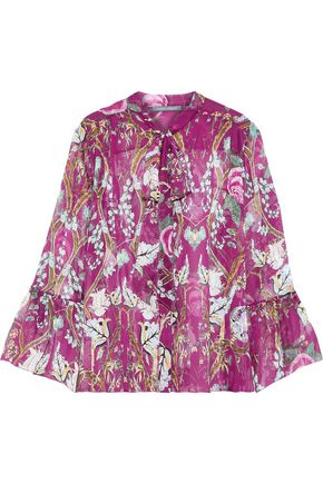 ALBERTA FERRETTI Pussy-bow floral-print silk-organza blouse
