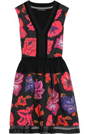 ALBERTA FERRETTI Flared tulle-trimmed floral-print cotton-poplin mini dress