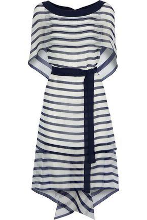 ALBERTA FERRETTI Layered striped silk-chiffon dress
