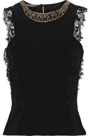 ALBERTA FERRETTI Embellished lace-trimmed silk top