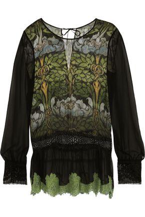 ALBERTA FERRETTI Lace-trimmed printed silk-chiffon top