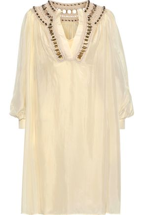 ALBERTA FERRETTI Ring-embellished crochet-trimmed silk-satin dress