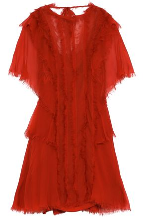 ALBERTA FERRETTI Frayed layered silk-chiffon mini dress