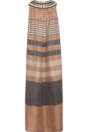 ALBERTA FERRETTI Ring-embellished crochet-trimmed striped gauze maxi dress