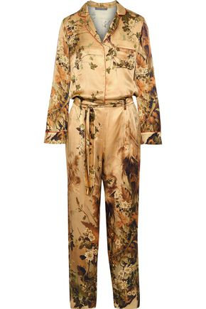 ALBERTA FERRETTI Belted printed silk-satin jumpsuit